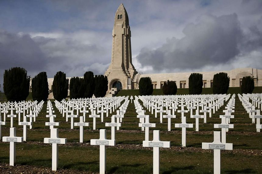 Crosses of those who died are seen at the WWI Douaumont ossuary near Verdun, France.