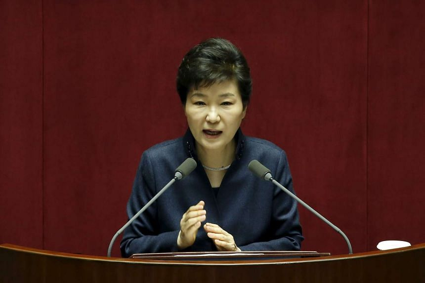 South Korean President Park Geun Hye delivering her speech during a plenary session at the National Assembly in Seoul on Feb 16, 2016.