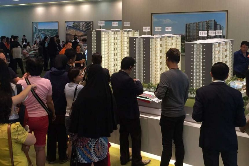 Potential buyers at the launch of the Wandervale executive condominium project in Choa Chu Kang.