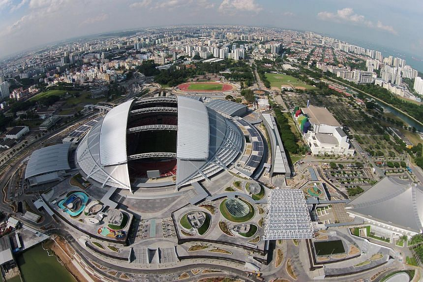 An aerial view of the Singapore Sports Hub.