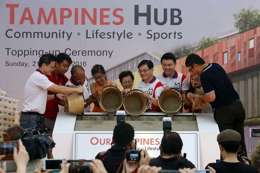 Finance Minister Heng Swee Keat (sixth from left) was among those present at the at the topping-up ceremony of the new hub.