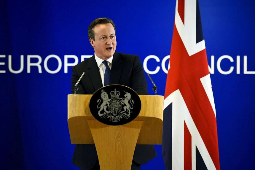 British Prime Minister David Cameron at a European Union leaders summit in Brussels on Feb 19, 2016.