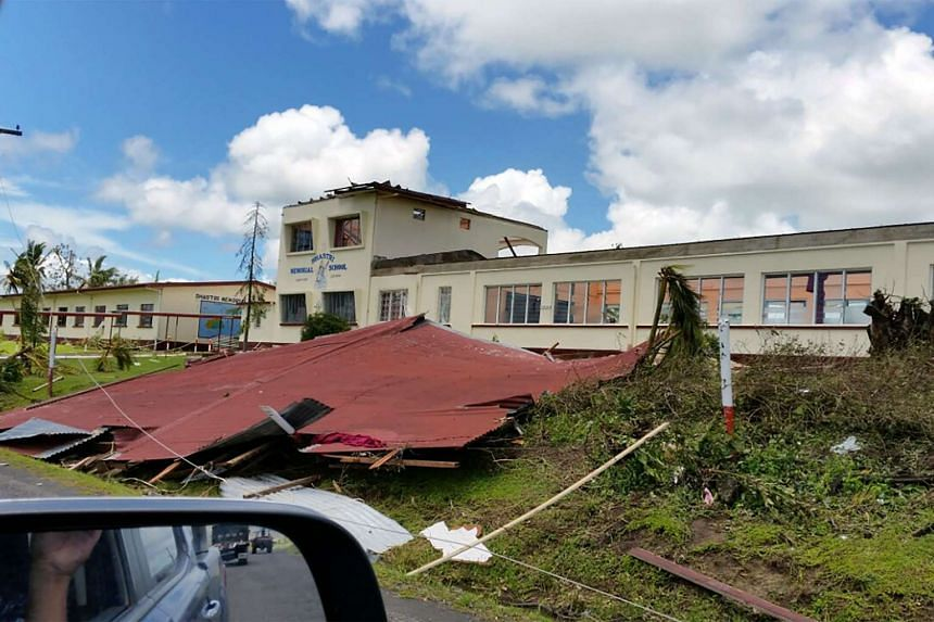 The badly damaged Shashtri Memorial School building in the aftermath of Cyclone Winston in the Ba district of Fiji.
