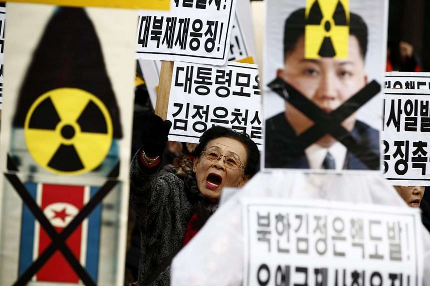 South Korean activists during a rally against North Korea's long-range rocket and nuclear test, in Seoul, South Korea on Feb 11, 2016.