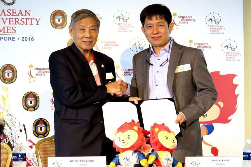 Asean University Games Organising Committee chairman Tan Eng Liang (left) and South East Asia Regional Anti-Doping Organisation chairman Patrick Goh after signing the MOU at Singapore Management University.