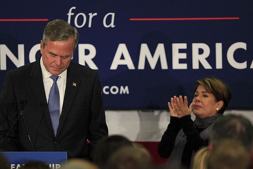 An emotional Jeb Bush announcing the suspension of his presidential campaign with his wife Columba by his side at the Hilton Columbia Centre in Columbia, South Carolina, on Saturday. Another humbling primary defeat, this time in South Carolina, marke