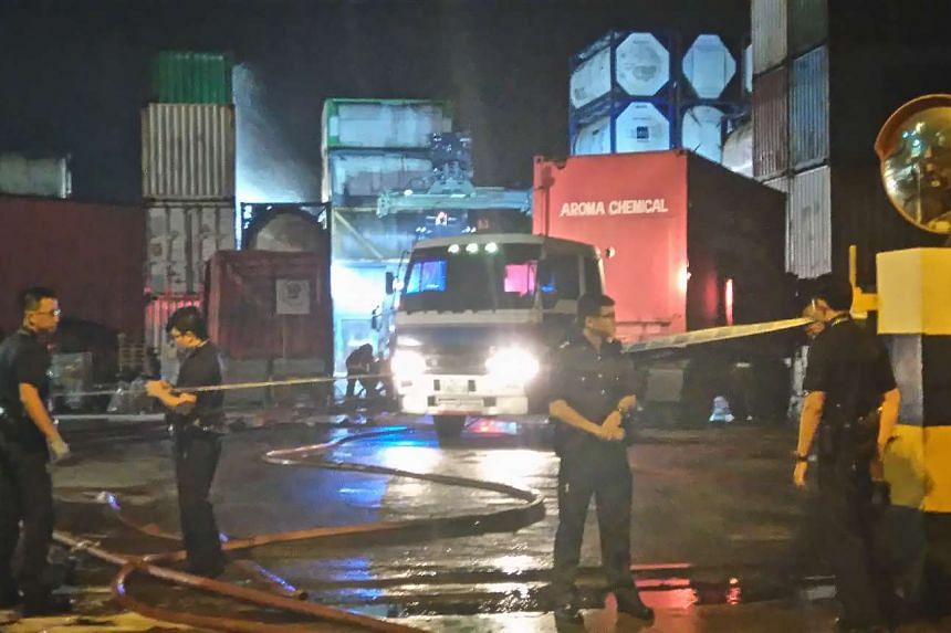 A fire broke out at a chemical company in Tuas South, which raged on for more than an hour.