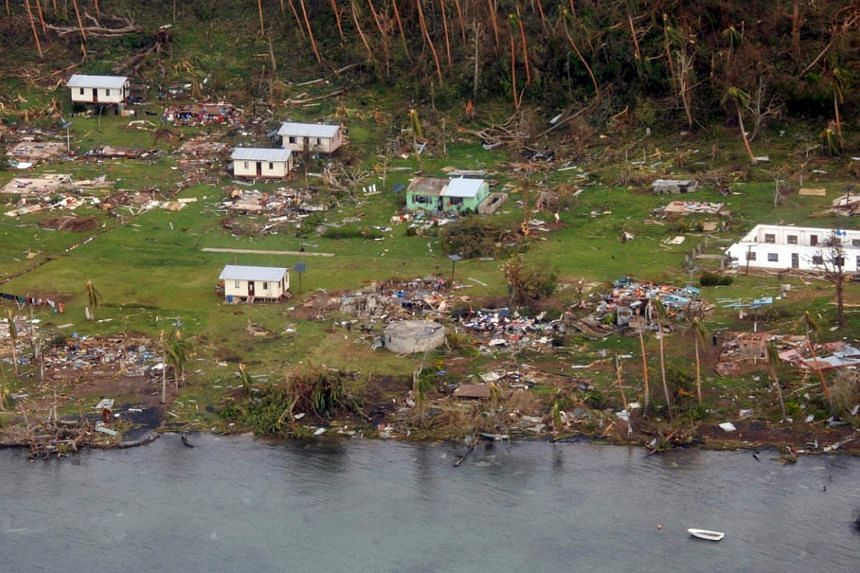 A remote Fijian village is photographed from the air during a surveillance flight conducted by the New Zealand Defence Force on Feb 21, 2016.