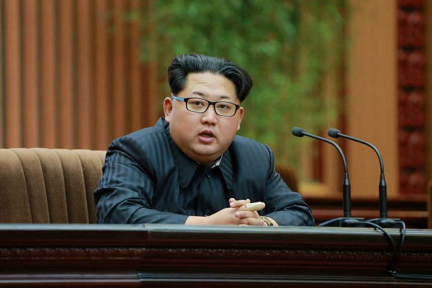 North Korean leader Kim Jong Un speaking during a commendation ceremony for those who contributed to the recent launch of a satellite in Pyongyang on Feb 19, 2016.