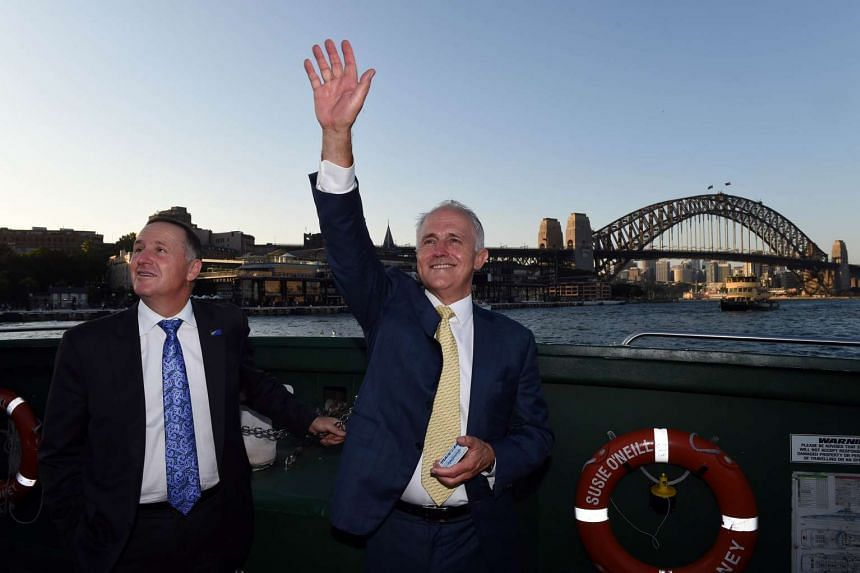 Australian Prime Minister Malcolm Turnbull (right) and New Zealand counterpart John Key in front of the Sydney Opera House on Feb 19, 2016.