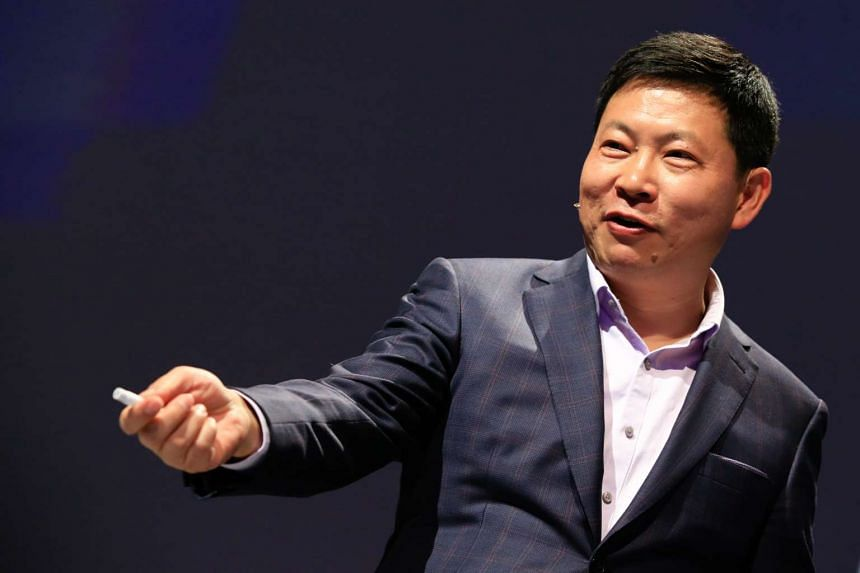 Richard Yu, chief executive officer of Huawei Technologies Co, gestures during a news conference ahead of the Mobile World Congress in Barcelona on Sunday (Feb. 21).