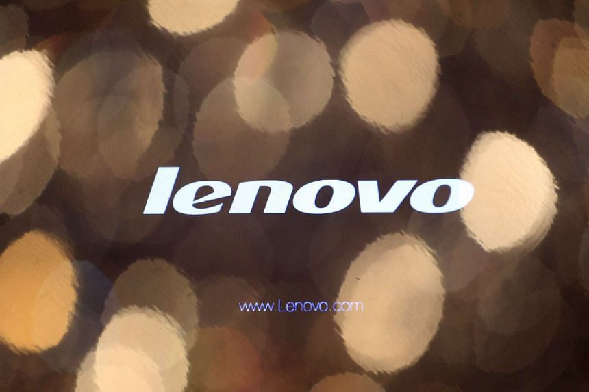 The Lenovo logo is seen on a computer monitor during a news conference in Hong Kong.
