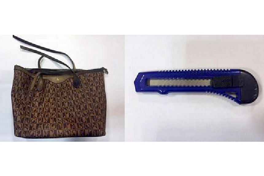 The paper cutter (right) used by the suspect in his attempt to rob a woman of her handbag (left).