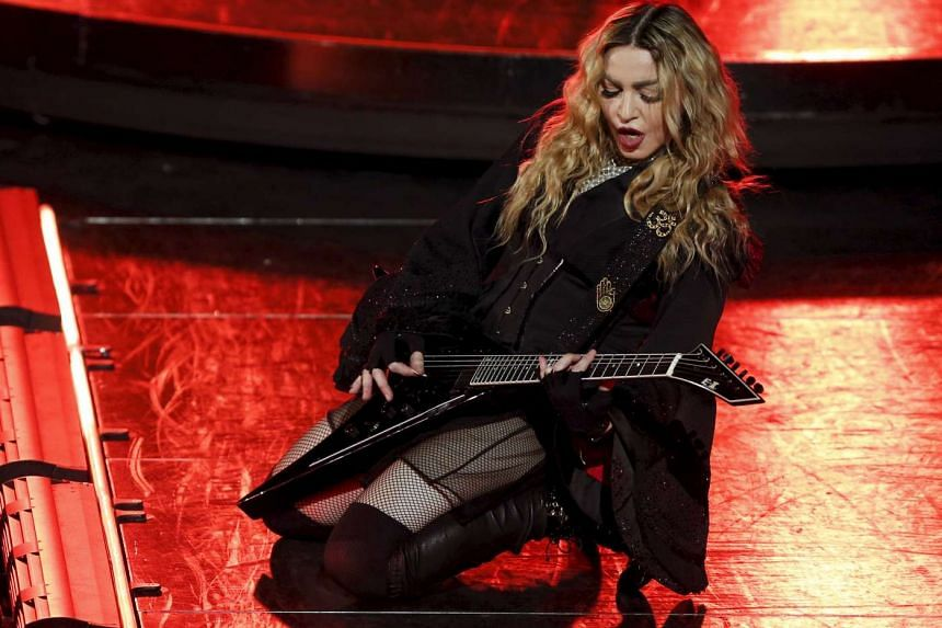 Madonna performs during her Rebel Heart Tour concert in Macau on Feb 20, 2016.