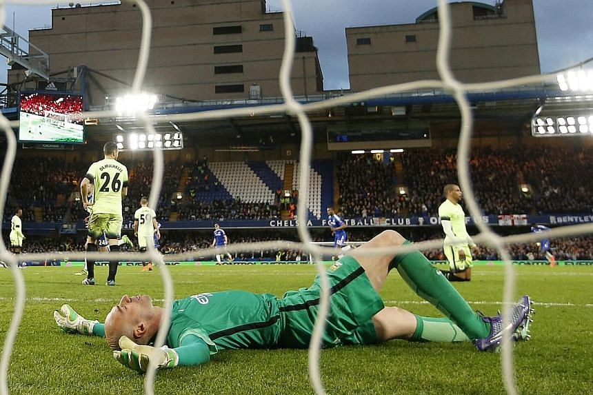 Manchester City goalkeeper Willy Caballero looking dejected after conceding the third Chelsea goal. City were defeated 5-1 in the FA Cup fifth-round tie.