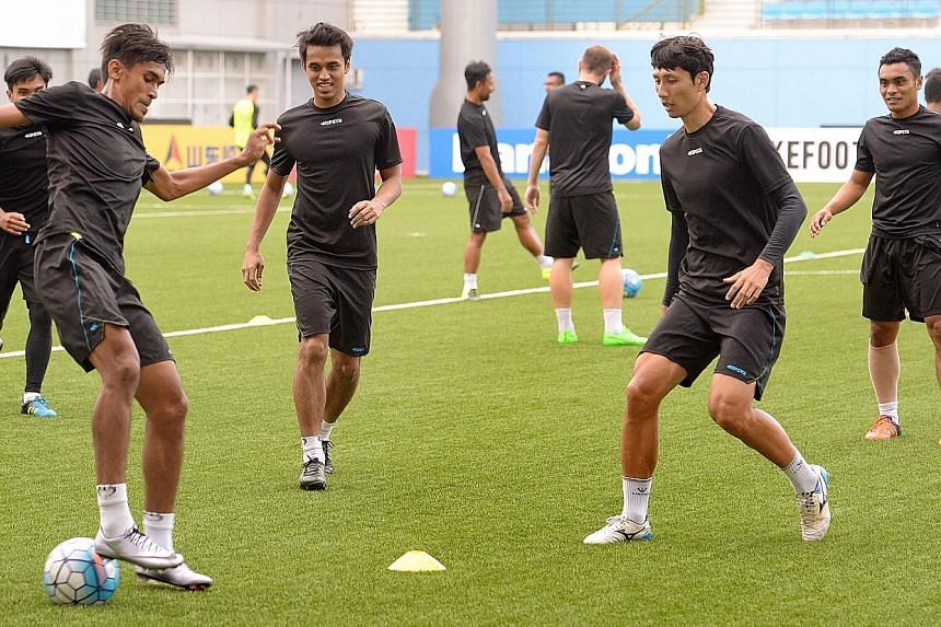 Tampines Rovers players (from left) Shakir Hamzah, Shahdan Sulaiman, Kwon Jun and Sufian Anuar during a training session in preparation for the AFC Cup game against Bangladesh Premier League champions Sheikh Jamal Dhanmondi Club. The match will be pl