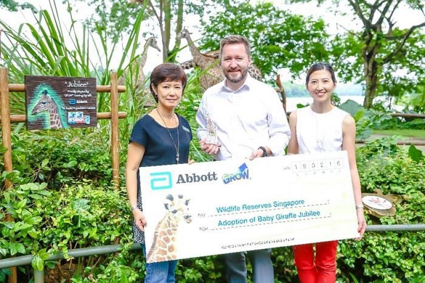 From left: WRS' chief marketing officer Isabel Cheng, Abbott Nutrition's regional division vice-president Mike Smith and Abbott Laboratories' regional general manager Hui Hwa Koh-Minjoot at Jubilee's adoption ceremony.