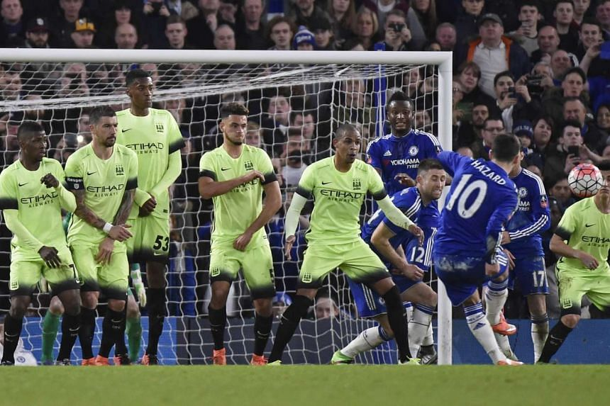 Eden Hazard scores from a free-kick against Manchester City in the FA Cup.