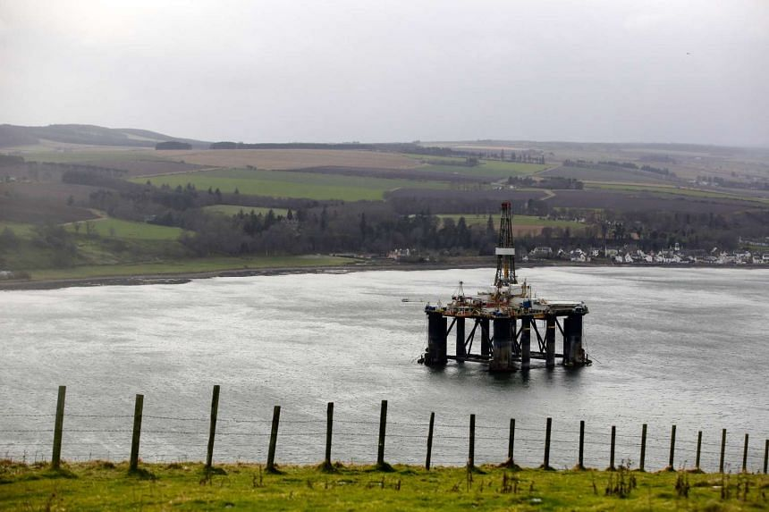 The Sedco 714 oil platform, operated by Transocean Ltd., stands in the Port of Cromarty Firth in Cromarty, UK on Feb. 16, 2016.