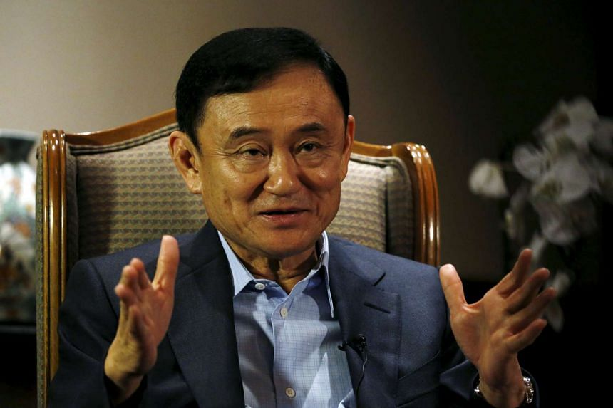 Former Thai Prime Minister Thaksin Shinawatra during an interview with Reuters in Singapore on Feb 23, 2016.