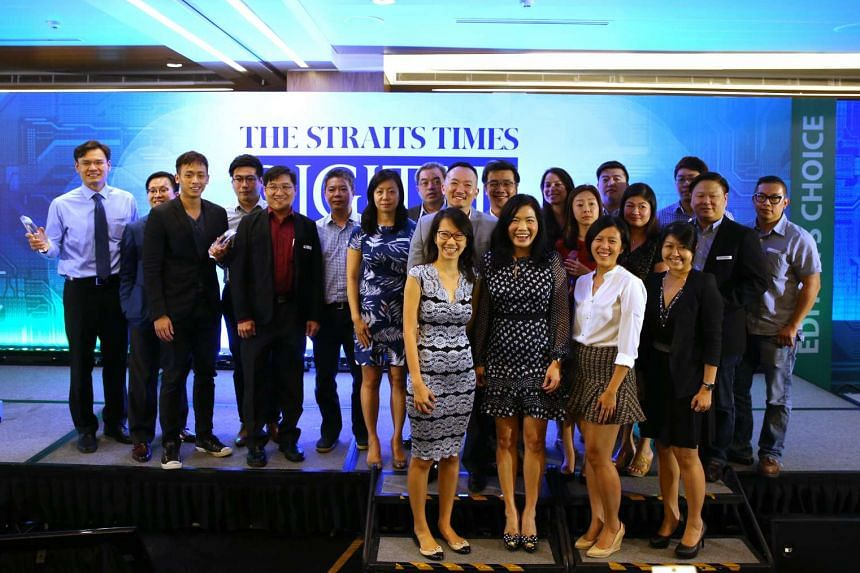 The ST Digital Awards winners, StarHub and The Straits Times in a group shot.