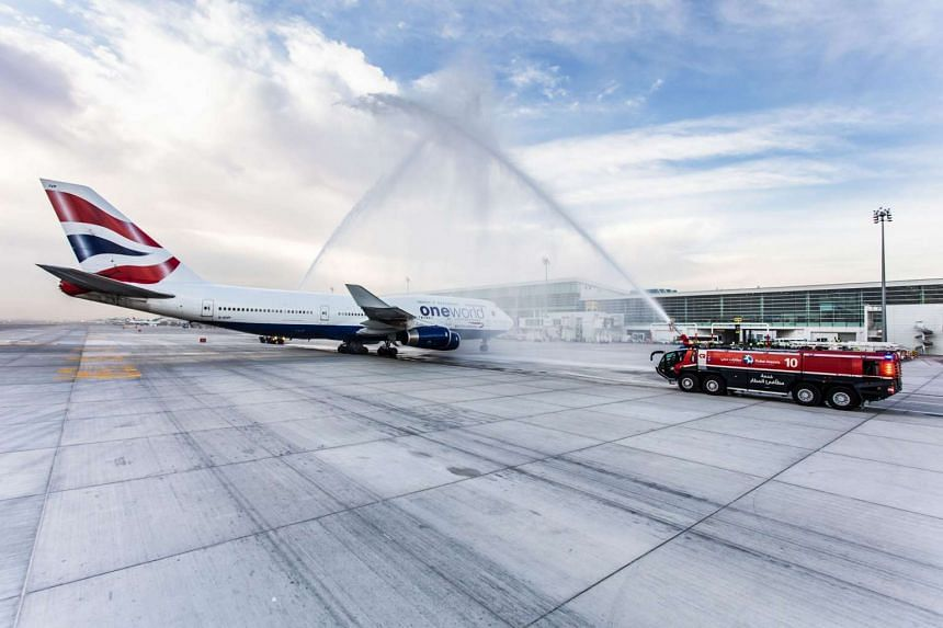 British Airways Boeing 747 flight 105 after landing at the new Concourse D at the Dubai International Airport.