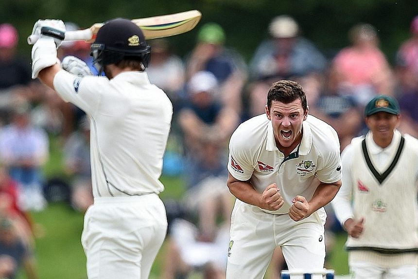 Australia's Josh Hazlewood celebrating what he thought was the removal of New Zealand batsman Kane Williamson. After the appeal was turned down, the fast bowler swore at the umpires.