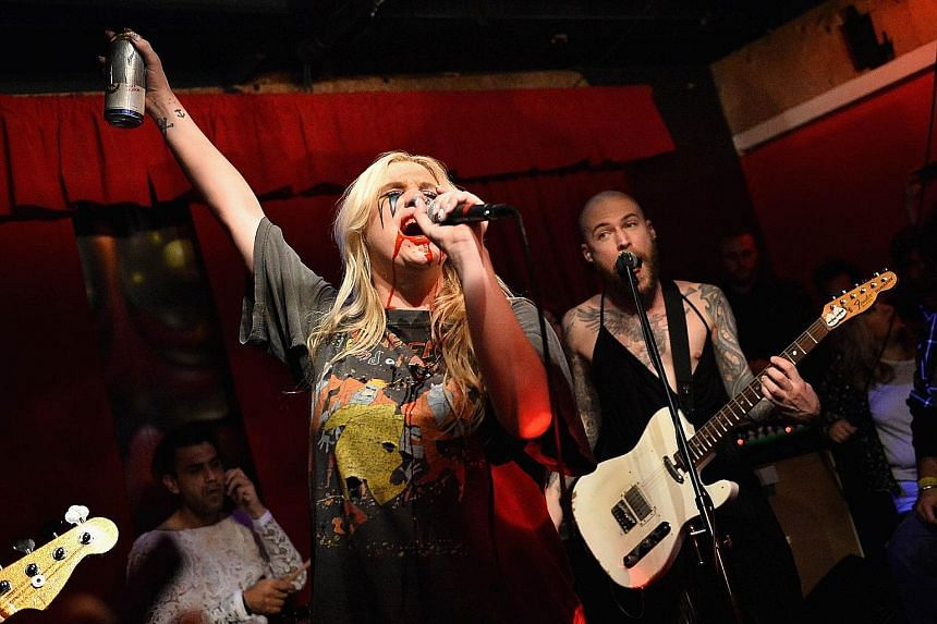 Kesha performing earlier this month in Los Angeles. Female musicians have voiced support for the singer, who said in 2014 that her former mentor, Dr Luke, abused her for years.