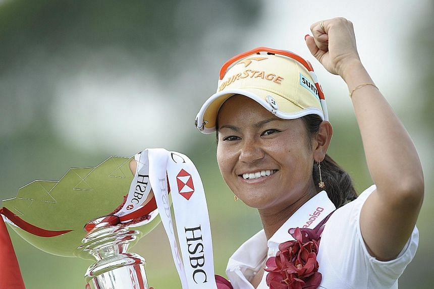 A joyous Ai Miyazato after clinching the HSBC Women's Champions at Tanah Merah, one of her five titles for 2010, when she topped the world rankings. She is now languishing at No. 159th but is delighted with the sponsor's exemption for another shot at