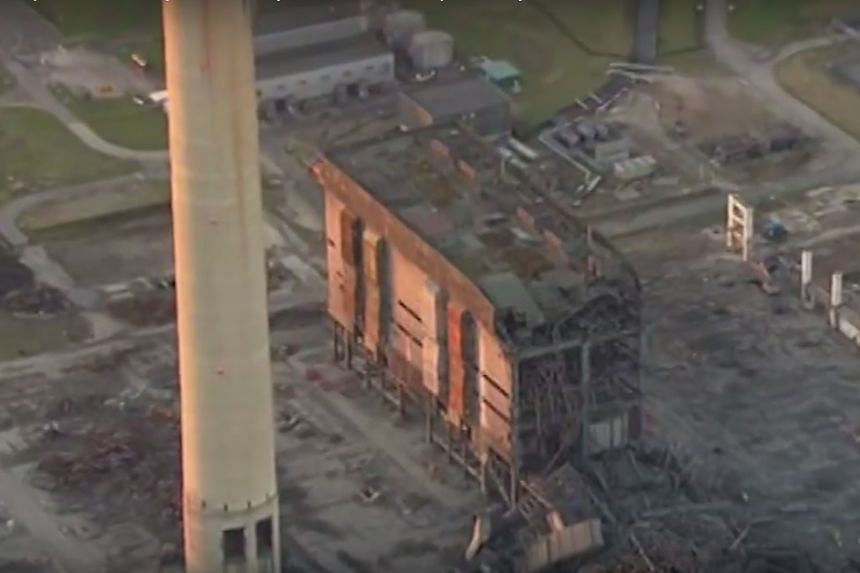 Damage from the explosion at the power plant, as seen in a video.