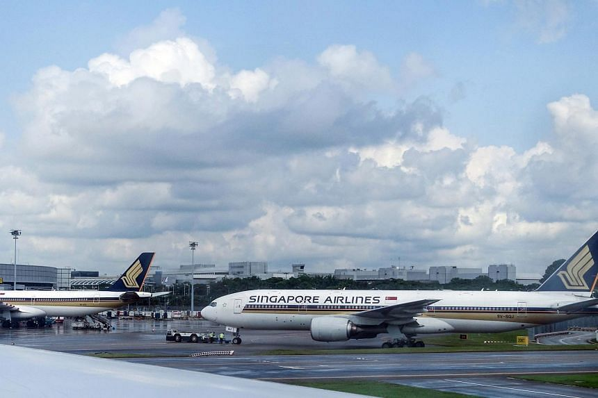 Generic photo of Singapore Airlines planes at Changi Airport.