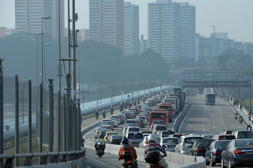 Early morning peak hour jam on the Causeway linking Singapore and Malaysia.