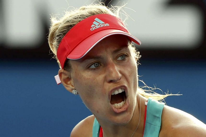 Kerber (above, in a file photo) lost in straight sets 7-5, 6-1 to China's Zheng Saisai.