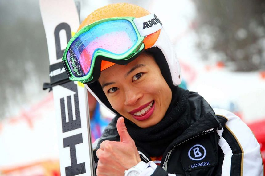 A file photo shows Vanessa Mae after competing in the Sochi 2014 Olympic Games in Russia.