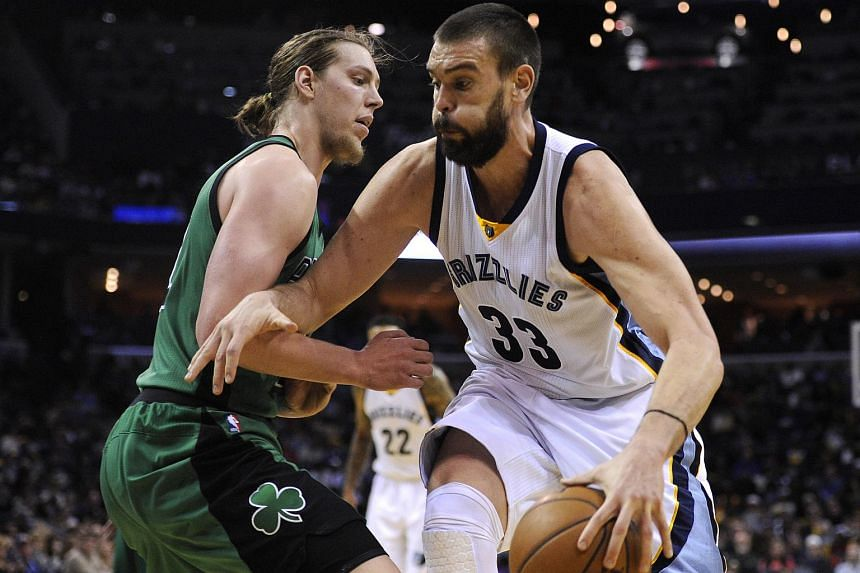 Memphis Grizzlies centre Marc Gasol (right) will miss the rest of the NBA season due to a broken right foot.