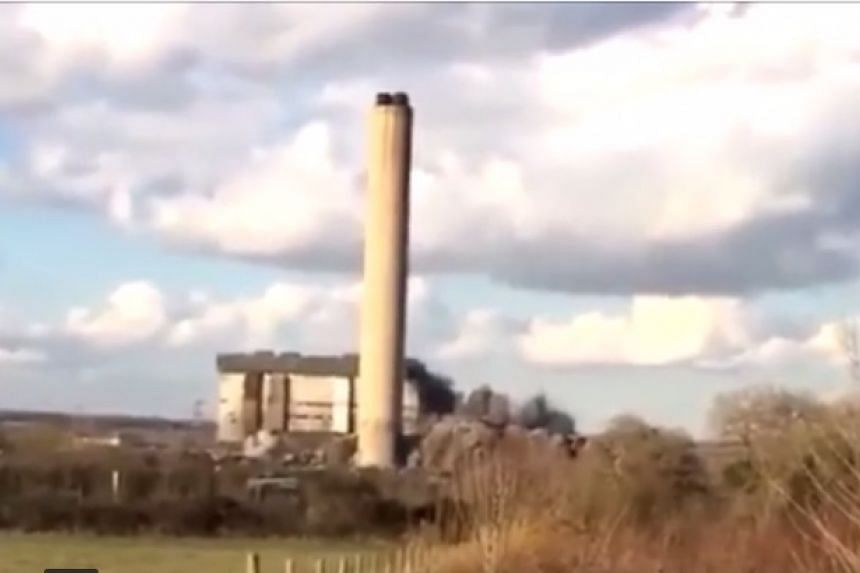 An explosion at the British power plant, captured on video.