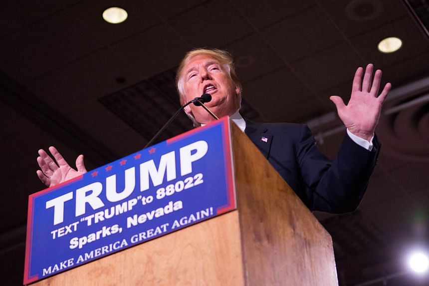 Republican presidential candidate Donald Trump speaks at a rally at the Nugget in Nevada.