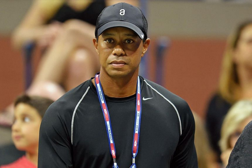 Tiger Woods attending the match between Rafael Nadal of Spain and Fabio Fognini of Italy during the 2015 US Open.