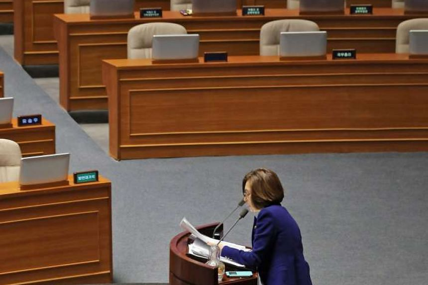 This picture taken on Feb 24, 2016 shows Ms Eun Soo Mi, a lawmaker of South Korea's main opposition Minju Party, delivering a speech for more than 10 hours to call for revision of disputed anti-terrorism bill at the main floor of the parliament in Se