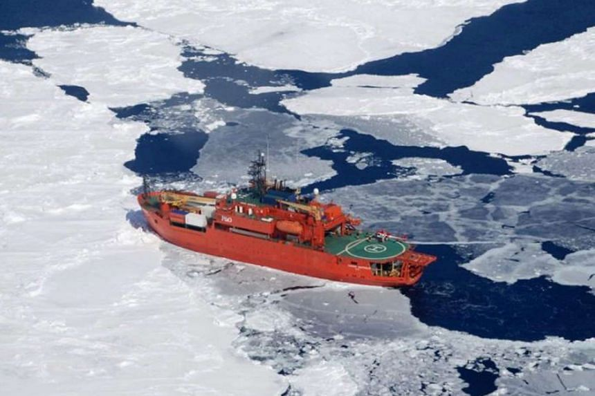 A file picture of Australia's flagship icebreaker Aurora Australis, which ran aground at Mawson Station.