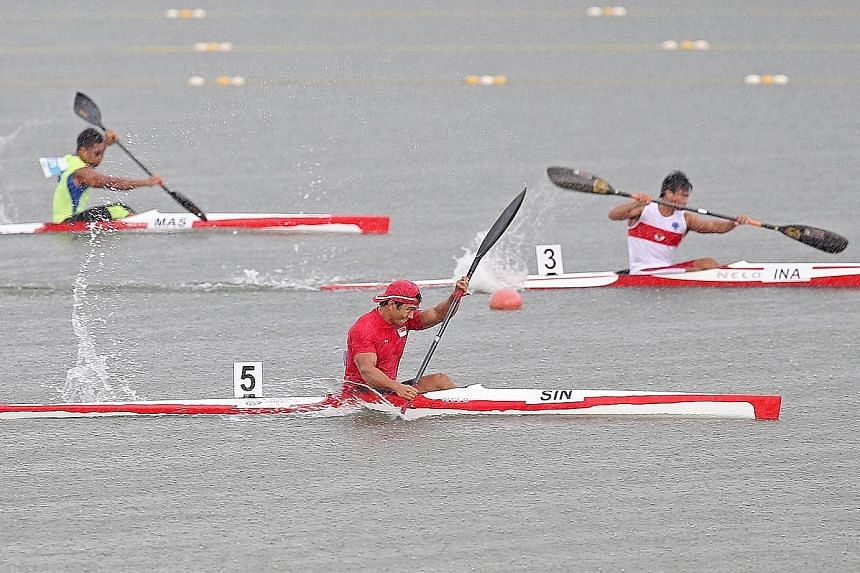 Singapore's Mervyn Toh (in red) powering ahead to win the men's K1 200m event at last year's SEA Games. An appeal for canoeing to be included in next year's SEA Games was made at the SEA Games Federation Council meeting in Kuala Lumpur yesterday.