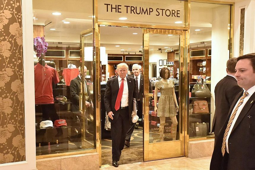 Mr Donald Trump leaving The Trump Store in the Trump International Hotel in Las Vegas on Tuesday. The Nevada caucus was the first contest for the Republicans in the US west.
