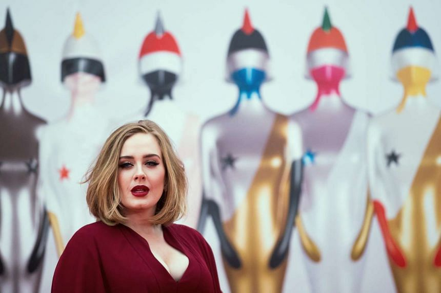 Adele arrives on the red carpet for the 2016 Brit Awards at the O2 Arena in Greenwich, London, on Feb 24, 2016.