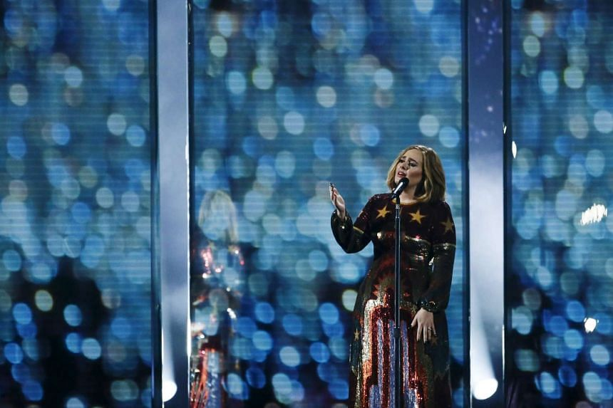 Adele performs at the BRIT Awards at the O2 arena in London, on Feb 24, 2016.