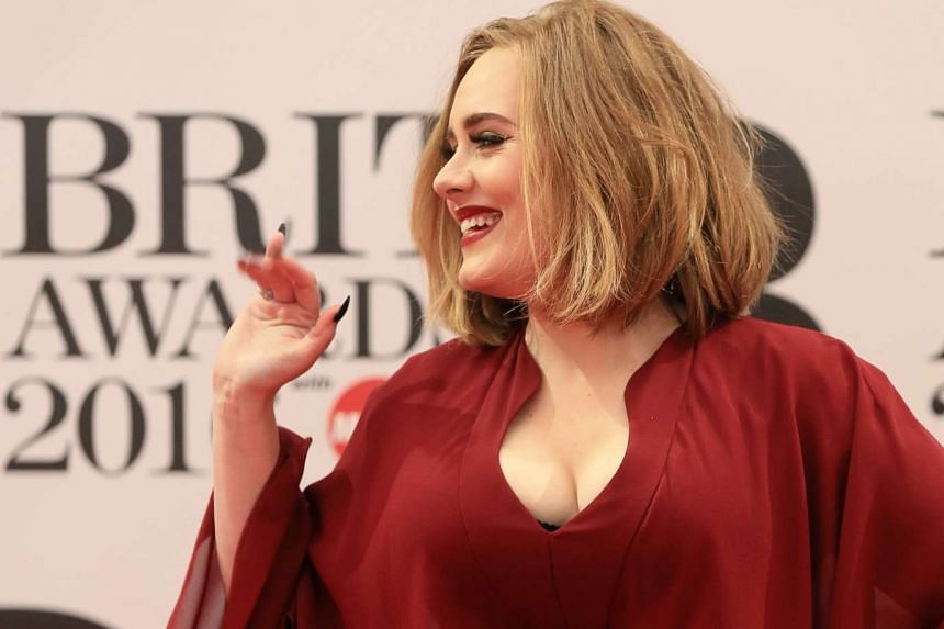 British singer and songwriter Adele arrives at the Brit Awards, Feb 24, 2016.
