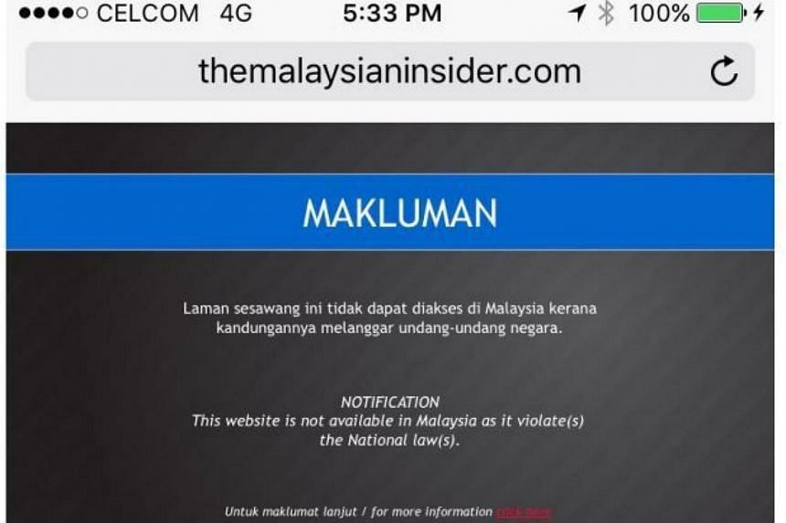 Several smartphone users in Malaysia found their access to online news portal The Malaysian Insider blocked.
