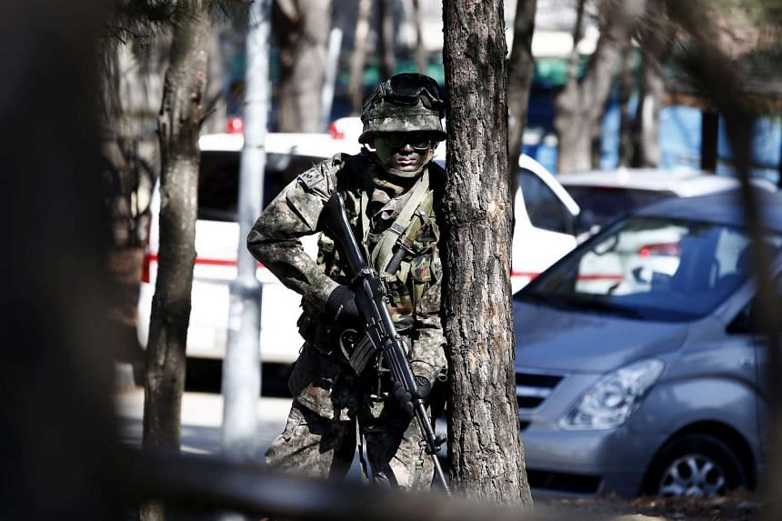 A South Korean soldier taking part in an anti-terrorism drill in Seoul on Feb 24.