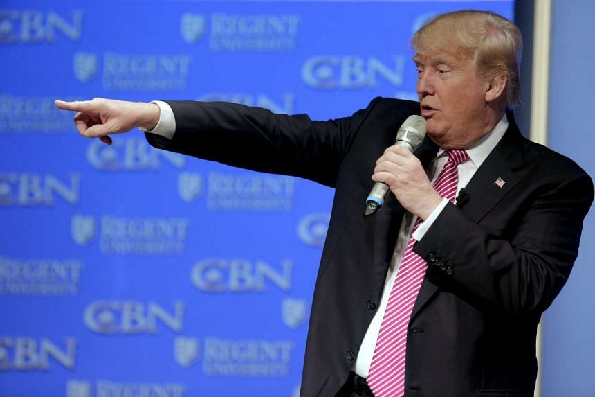 Republican presidential candidate Donald Trump speaks at a campaign event at Regents University in Virginia, on Feb 24, 2016.