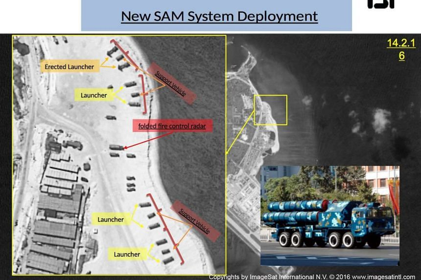 A handout picture with annotations shows satellite images of Woody Island.