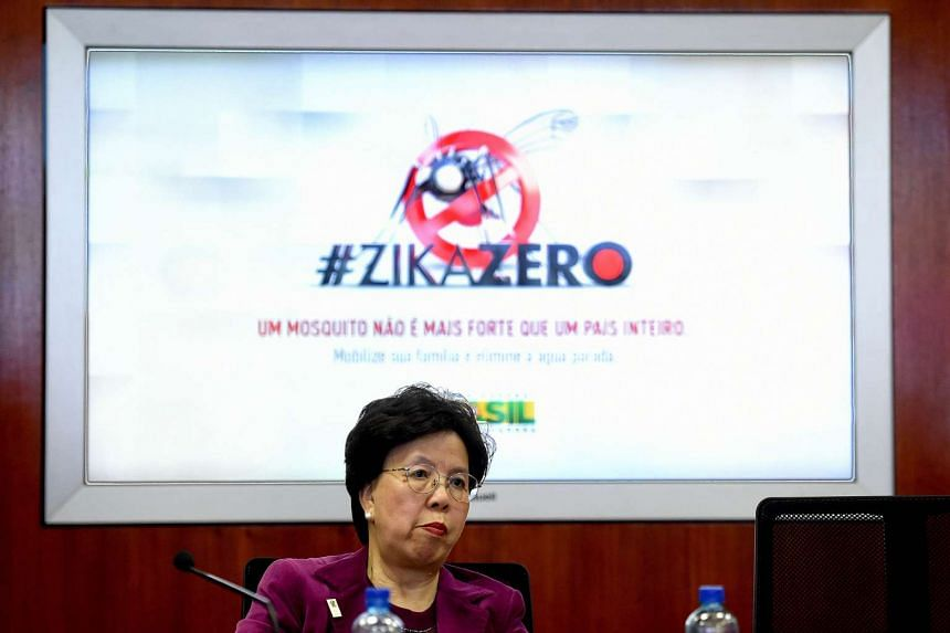 WHO chief Margaret Chan during a meeting at the National Centre for Risk and Disaster Management in Brazil on Feb 23.
